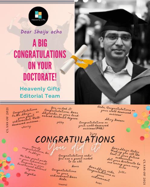 Fr.Shaiju Joseph……Hearty congratulations on your Doctorate….